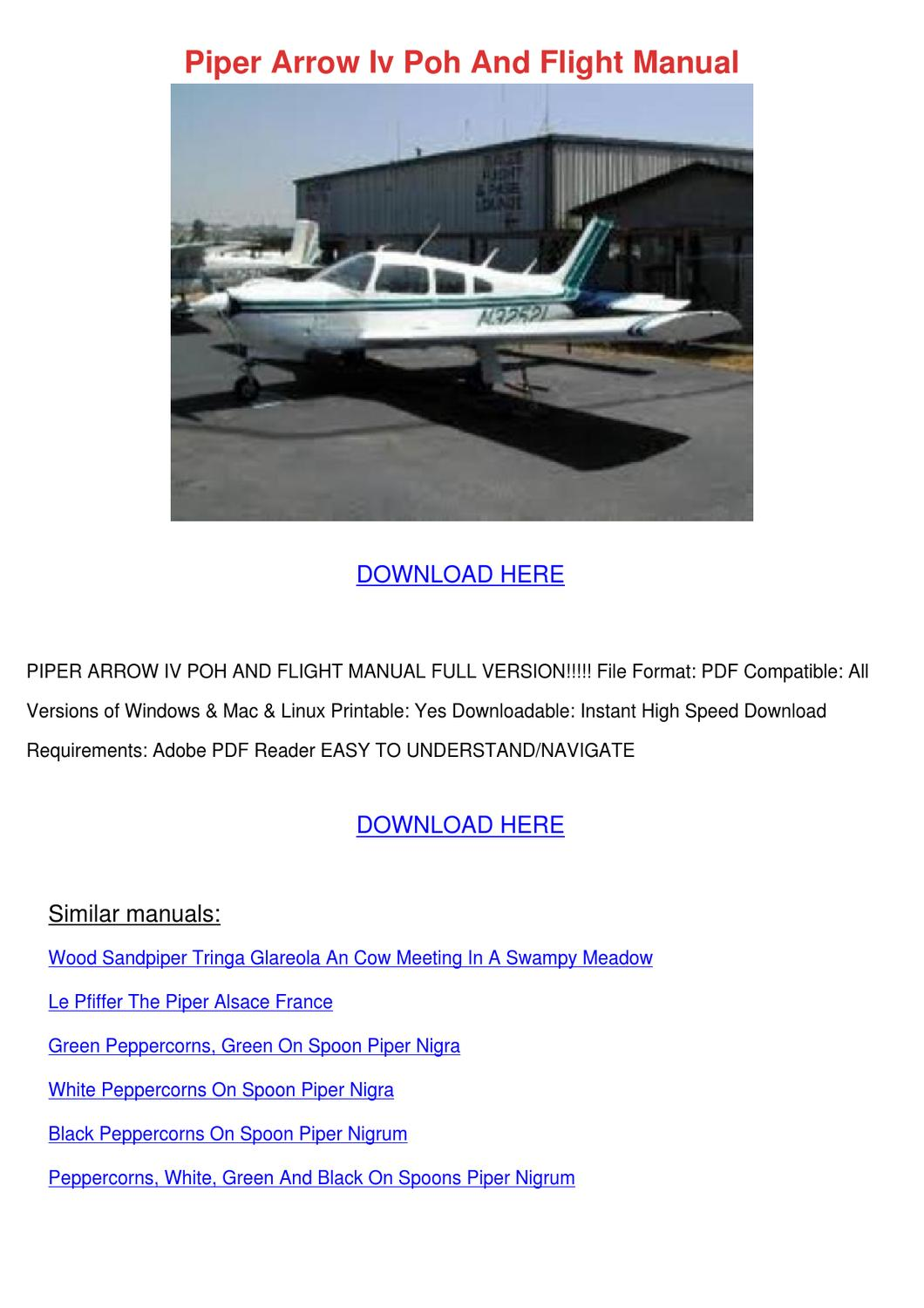 piper pa-18-150 flight manual