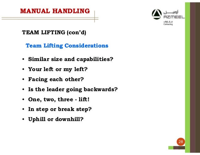 face the task use two hands manual handling