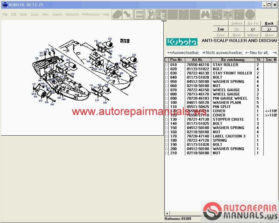 kubota b1750hsd tractor parts manual