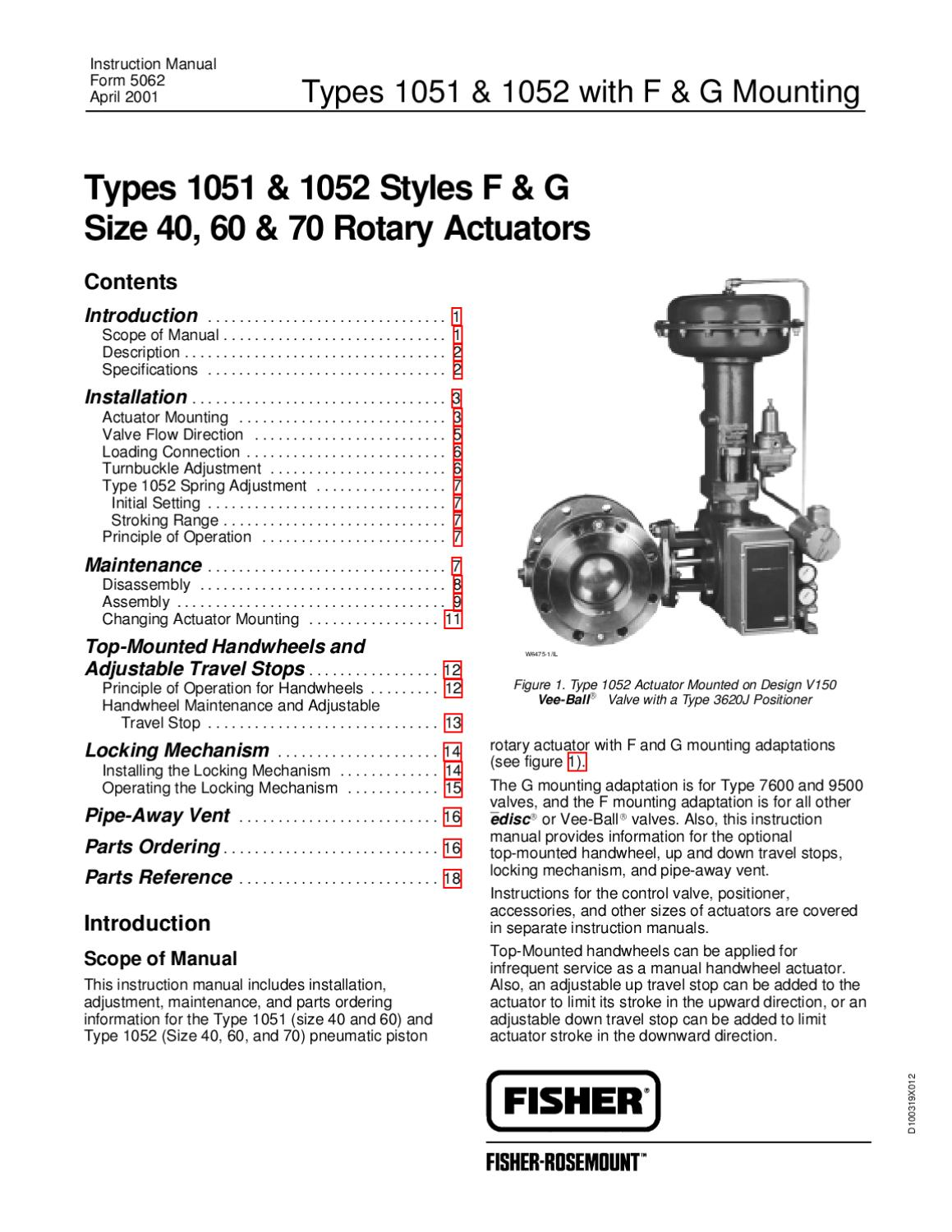 fisher 1052 size 60 actuator manual