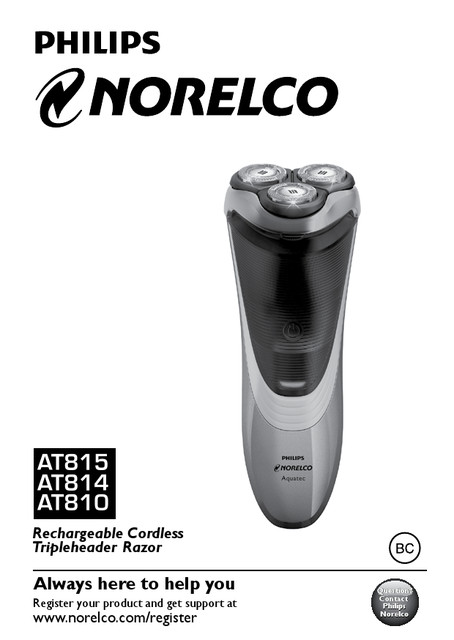 philips norelco aquatec at811 manual