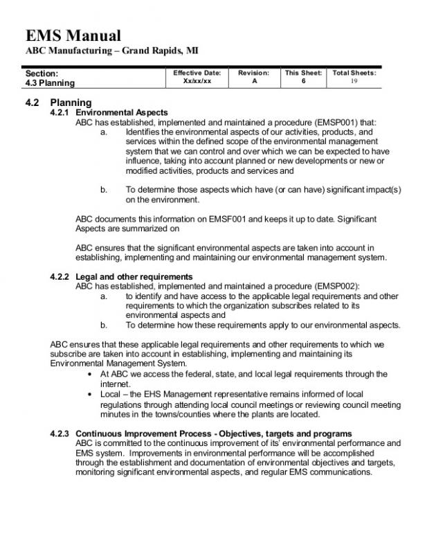 environmental management system manual examples iso14001 2015