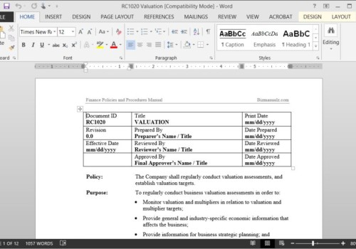 microsoft word policy and procedure manual template design