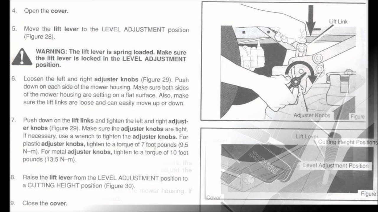 mcculloch ride on mower manual belt adjustment