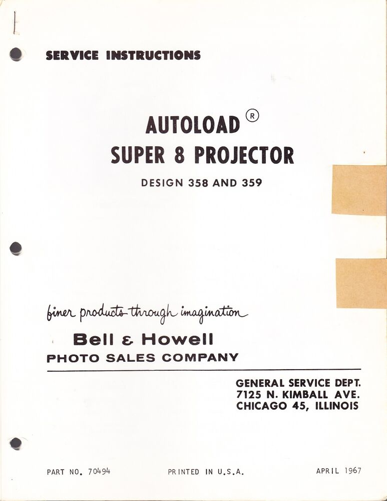 bell howell 240 service manual