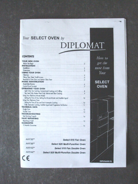 chef select oven manual parts