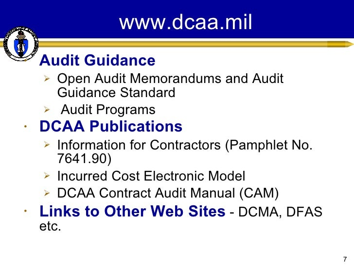 dcaa contract audit manual chapter 7