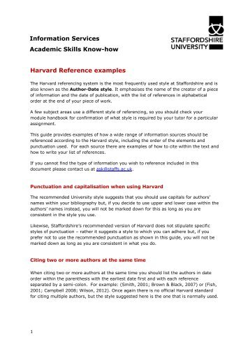 harvard referencing for course manual
