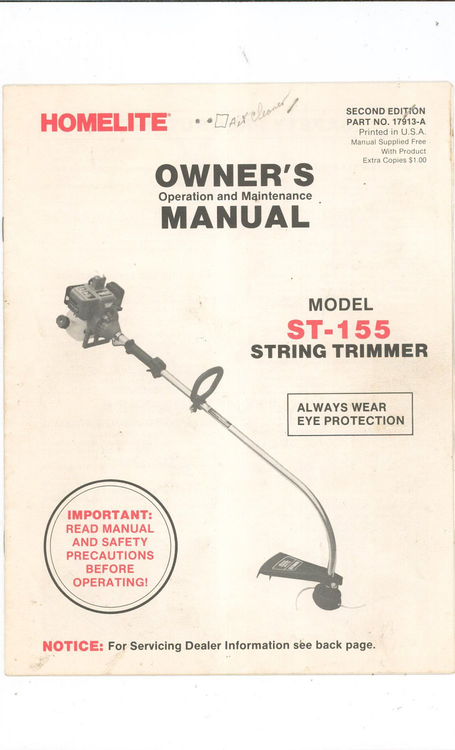 homelite textron chainsaw owners manual