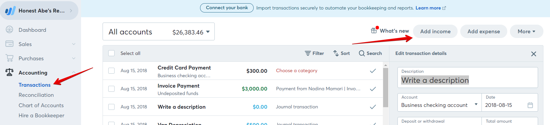 how to manually add transactions in pocketbook