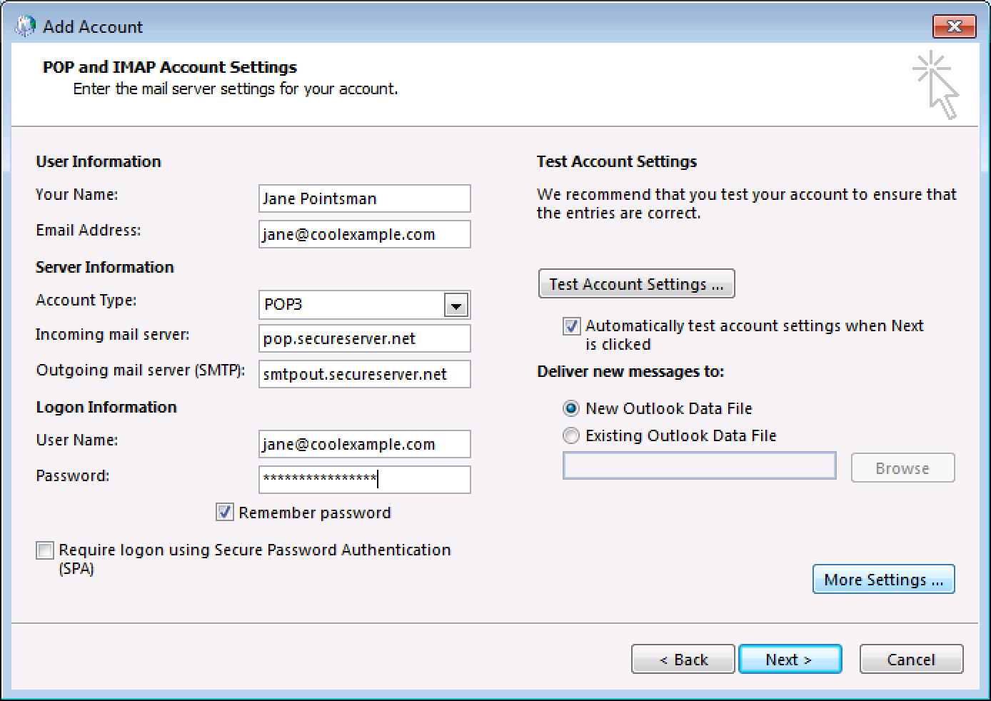 how to manually configure office 365 in outlook 2013