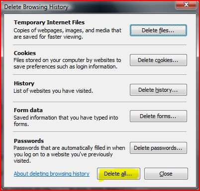 manually clear internet explorer cache