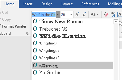 manually install font in word 2016