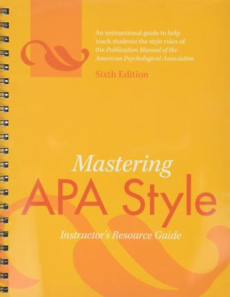 publication manual of the american psychological association author