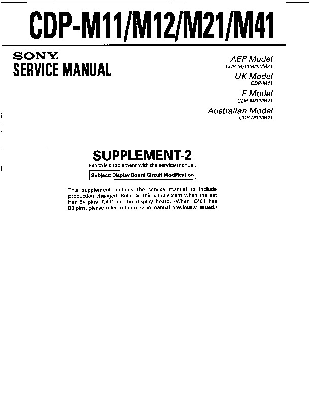 sony cdp-m11 service manual