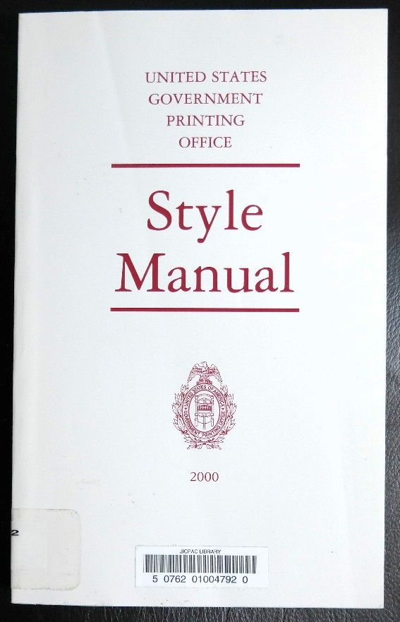 the government printing office style manual